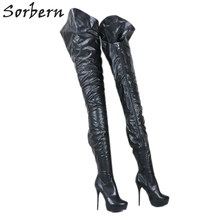 Sorbern Custom שחור מאט קיצוני ארוך מגפי נשים גבוהה העקב פלטפורמת אסימטריה מחוץ ארוך בתוך קצר נשי מגפיים