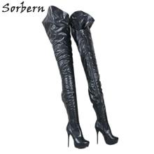 Sorbern bottes longues pour femmes, personnalisées, noir mat, talons hauts, semelles asymétriques, extérieur et intérieur, bottes courtes pour femmes