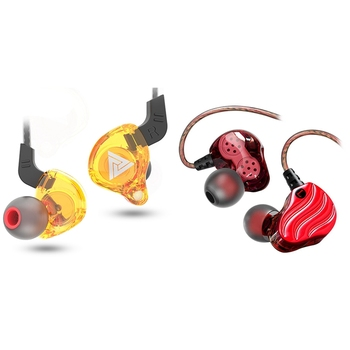 Qkz 2pcs In-Ear Subwoofer Headphones Mobile Phone Music Mp3 Dual Unit Subwoofer Headphones - Kd4 Red & Ak6 yellow