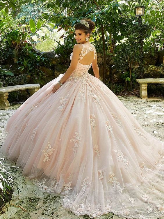 2020 Quinceanera Dresses Ball Gown Sweep Train Lace Flowers Long Prom Party Dresses Robe vestidos de quinceaneras
