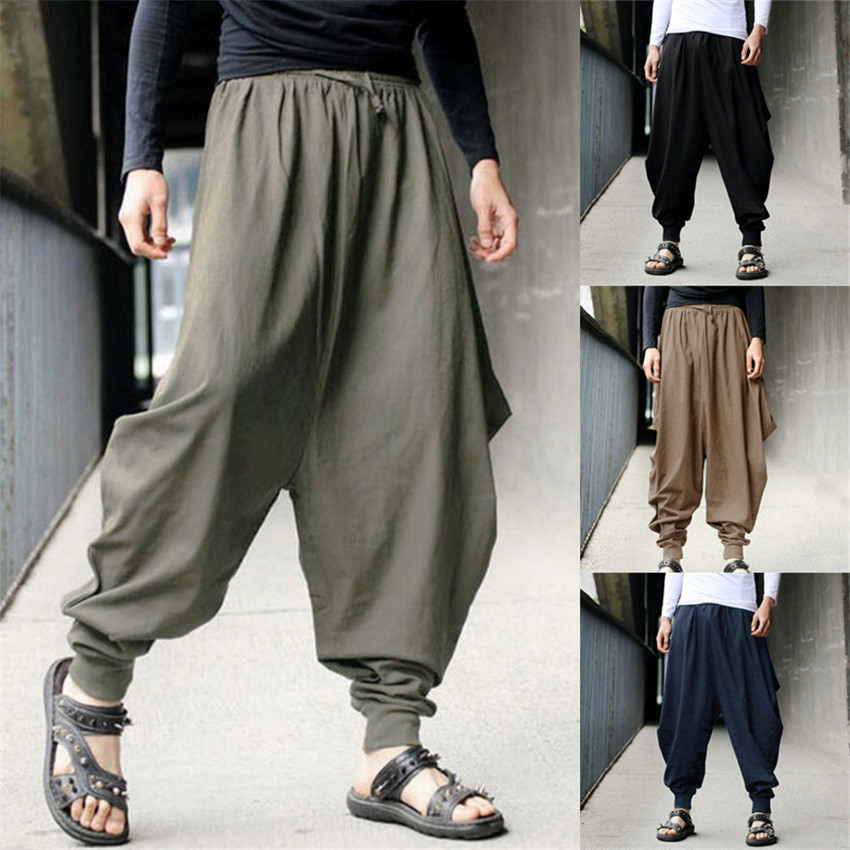 Chinese Style 2020 News Cotton Haroun Trousers Loose Casual Traditional Chinese Clothing For Men Hakama Samurai Costume Hip Hop
