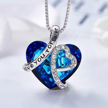 Bule Heart of the Ocean Heart-shaped Crystal Pendant Necklace for Woman Classic Accessories Party Banquet Jewelry Girl Gift classic heart pendant