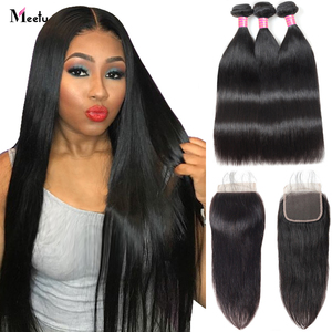 Meetu Brazilian Straight Hair Bundles with Closure 5x5 inch Human Hair Bundles with Closure 3 Bundles with Lace Closure Non Remy