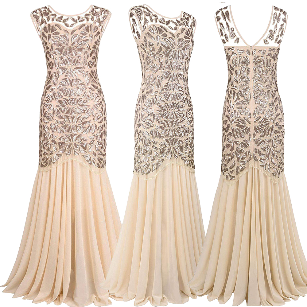 Vestidos Vintage Mujer Sequins Beading Long Evening Dresses Formal Round Neck Lace Long Sexy Women Party Special Occasion