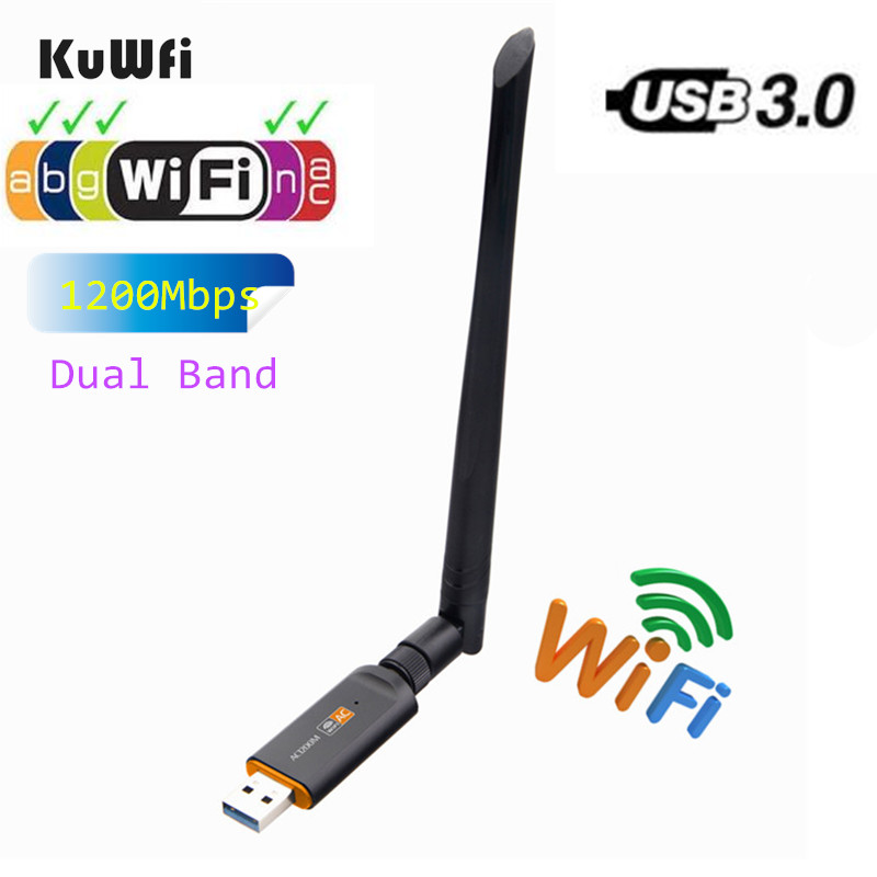 1200Mbps USB Wireless Wifi Adapter 2.4GHz 5.8GHz RTL8812BU Wireless-AC Network Card PC Wifi Receiver For MAC/Liunx OS/Windows7/8