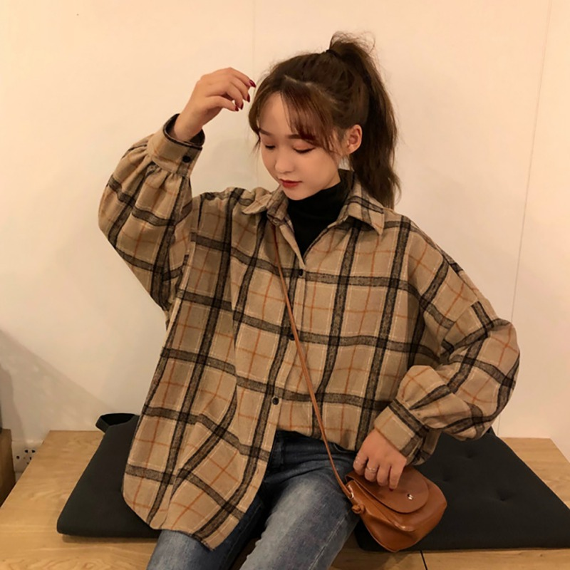 2020 Autumn New Plaid Print Shirt For Women Korean Style Lapel Long Sleeve Single-breasted Blouse