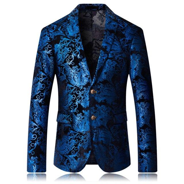 Mensแฟชั่นDance Blazer Coats 2019รูปแบบชายธุรกิจงานแต่งงานเวทีแขนยาวแจ็คเก็ตSlim Coat 4XL 5XL