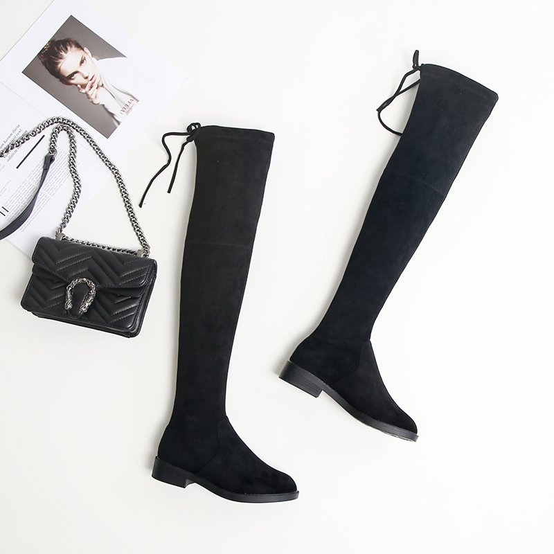 KATELVADI Size 34-43 Over Knee Boots Women Round Toe Square Low Heels Black Flock Women Thigh High Boots Snow Winter Boots K-196