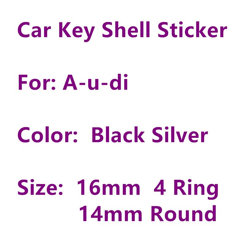5 uds. 16mm x 6mm 4 anillos O 14mm redondo coche llave pegatina de concha Logo emblema insignia símbolo para Audi mando a distancia Fob 3D calcomanías de Metal