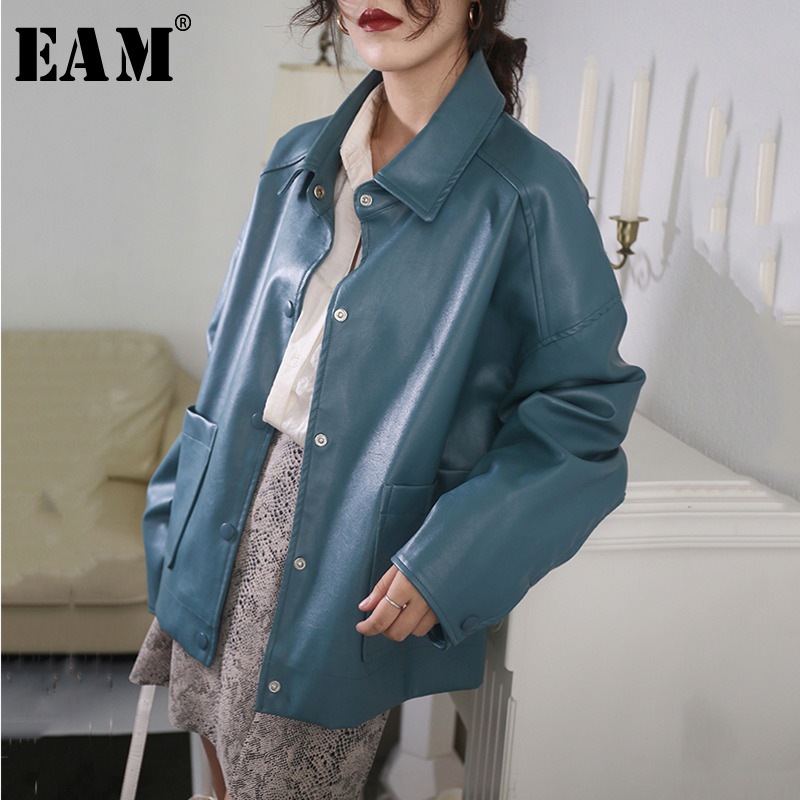 [EAM] Loose Fit Blue Pu Leather Brief Big Size Jacket New Lapel Long Sleeve Women Coat Fashion Tide Spring Autumn 2020 1X467 1