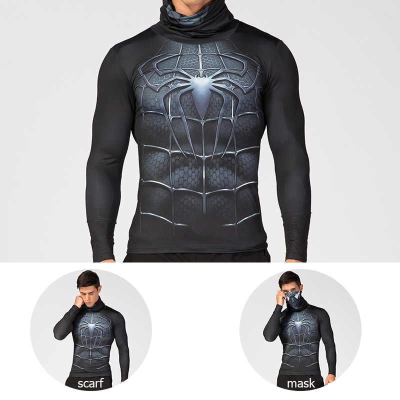 남자의 높은 칼라 옷깃 속옷 3D 인쇄 압축 셔츠 스파이더 맨 캡틴 아메리카 의상 만화 슈퍼 히어로 남자 탑스