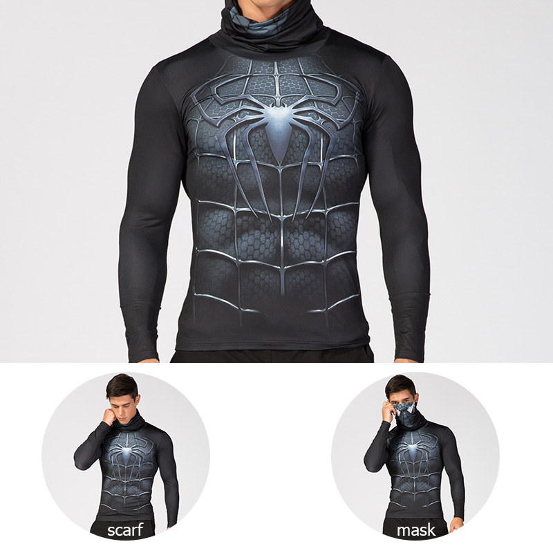 Men's High Collar Lapel Underwear 3D Printed Compression Shirt Spiderman Captain America Costume Comics Superhero Men Tops
