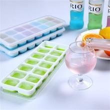 Buz küpü makinesi 14 ızgaraları buz küp tepsiler kolay bırakma silikon ve esnek dökülmeye dayanıklı çıkarılabilir kapak BPA ücretsiz şarap için