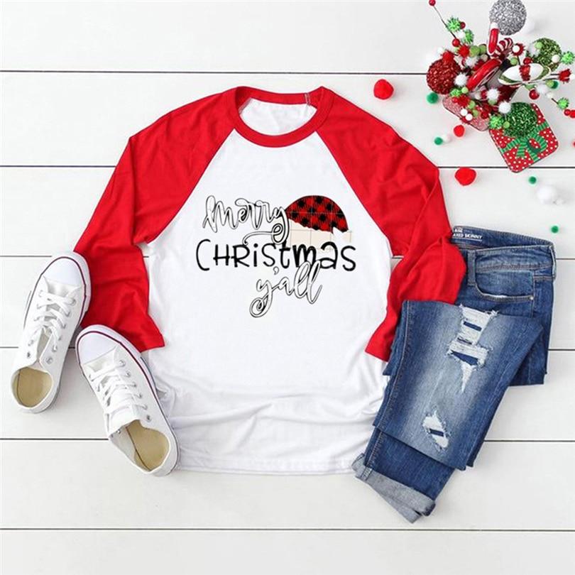 Merry Christmas Letter Print T shirt Women Xmas Clothes Santa Graphic Tshirt Long Sleeve Harajuku Autumn T-shirt Streetwear A50