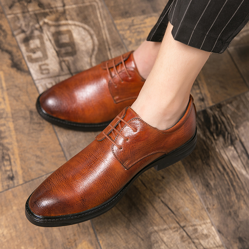 Leather Shoes Men outdoor Formal Dress Fashion Oxfords Spring Autumn New Low-cut breathable Lace-up Non-slip Outdoor Mens Shoes
