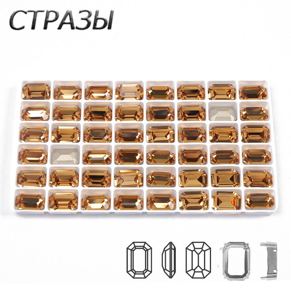 CTPA3bI Light Colorado Topaz Color Crystals Sew On stones with Gold /Silver Mental Claw DIY clothing Colorful Dress Accessories