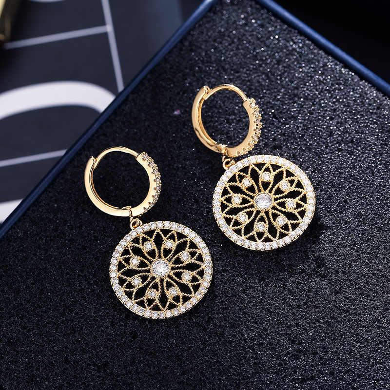 14K Oro Reale Orecchino di Diamanti Rotonda Hollow di Cerimonia Nuziale puro Della Pietra Preziosa per Le Donne Peridot Bizuteria Orecchino di Goccia Dei Monili Orecchini