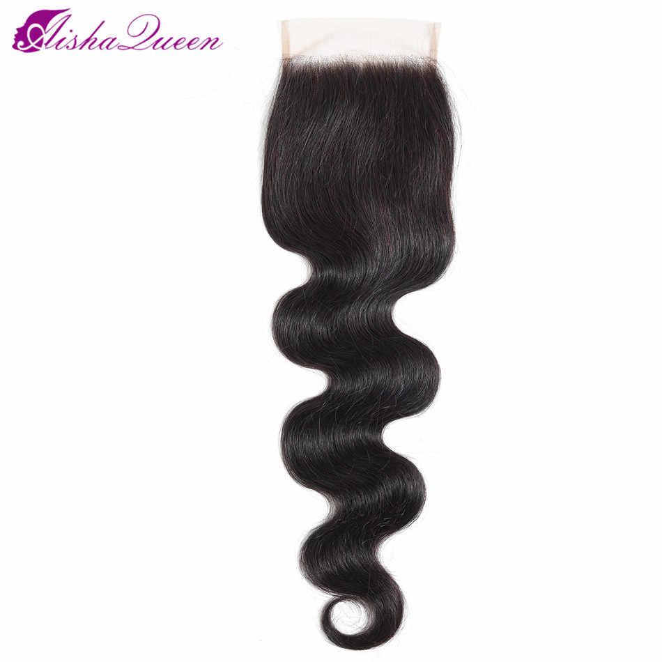 Aisha Queen Body Wave Bundles With Closure Brazilian Hair Weave Bundles With Closure Non Remy Human Hair Bundles With Closure