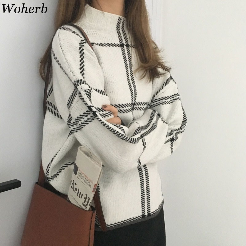 Woherb Vintage Knitted Sweater Women Half Turtleneck Long Sleeve Plaid Pullovers Loose Casual Harajuku Tops Korean Fashion 90727