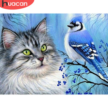 HUACAN Diamond Painting Cat Bird Full Square Drill Home Decoration Display Rhinestone Picture Kits Embroidery - discount item  34% OFF Arts,Crafts & Sewing
