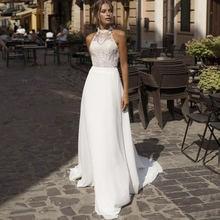 Свадебное платье трапеция свадебное с открытой спиной и лямкой