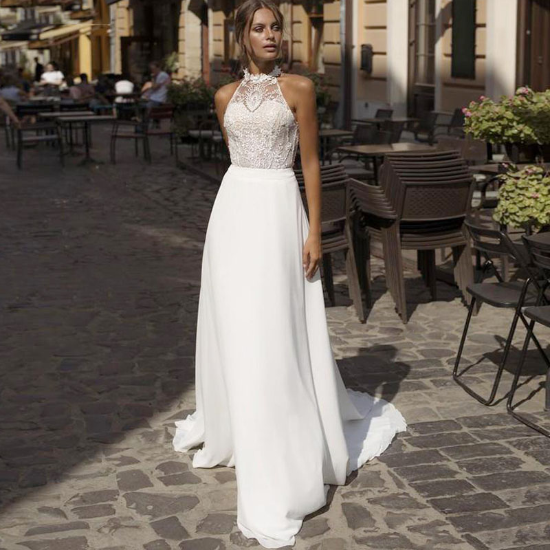 Eightree A-Line Wedding Dress 2020 Vestido de noiva Illusion Backless Halter Robe Soriee Vintage Appliques Bride Boho
