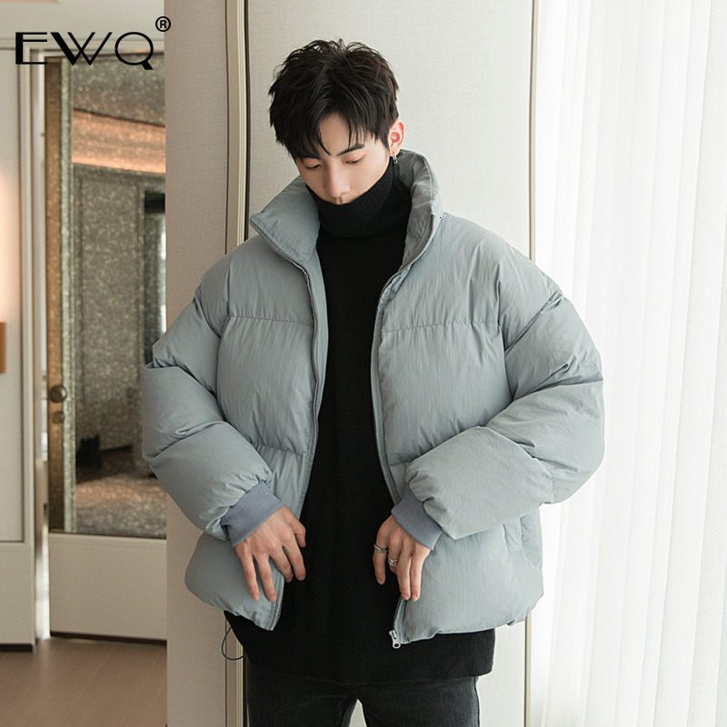 EWQ / 2019 New Fashion Autumn Winter Jacket Men Solid Loose Casual Tide Thicken Stand Collar High Street Cotton Coat Male 9A478