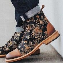 Vintage zapatos para caminar para Hombre Zapatos de vestir para hombres botas cosidas de flores Vintage para oficina de negocios zapatos de fiesta Casual D30