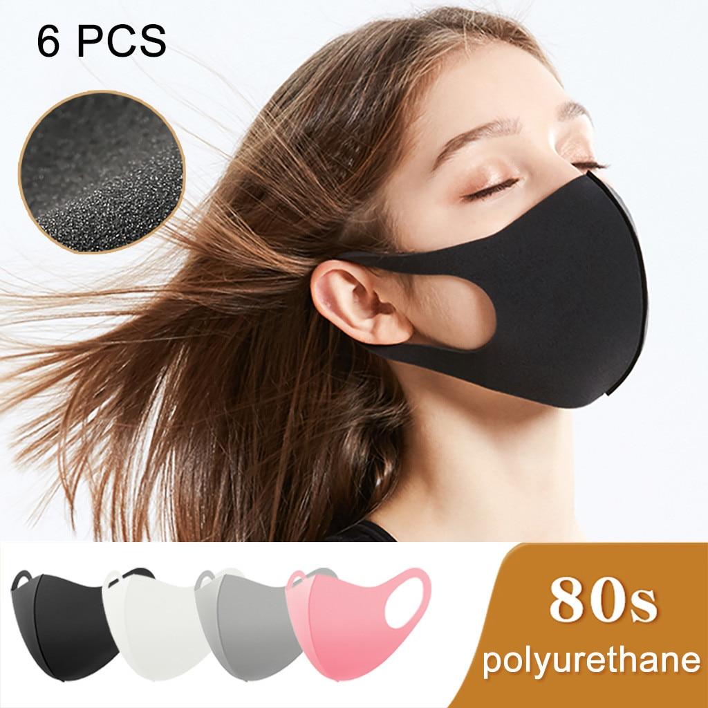 6PCS Black Gray Pink White Face Masks Dust-proof Breathable Cotton MaskIce Silk Mascherina Washable Reusable Masks Mascarillas