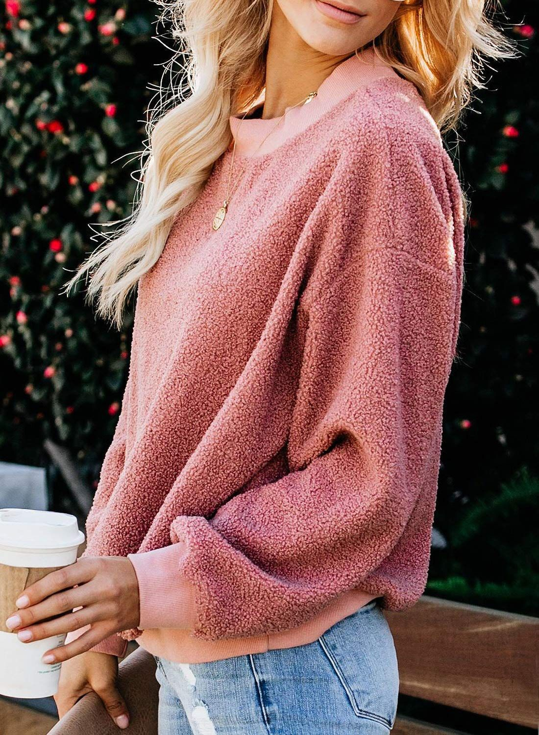 Thick Pullover Swetshirt Women Long Sleeve Hairy Sweatshirts Multicolor Ladies O Neck Solid Pullover Tops Oversize Autumn Winter