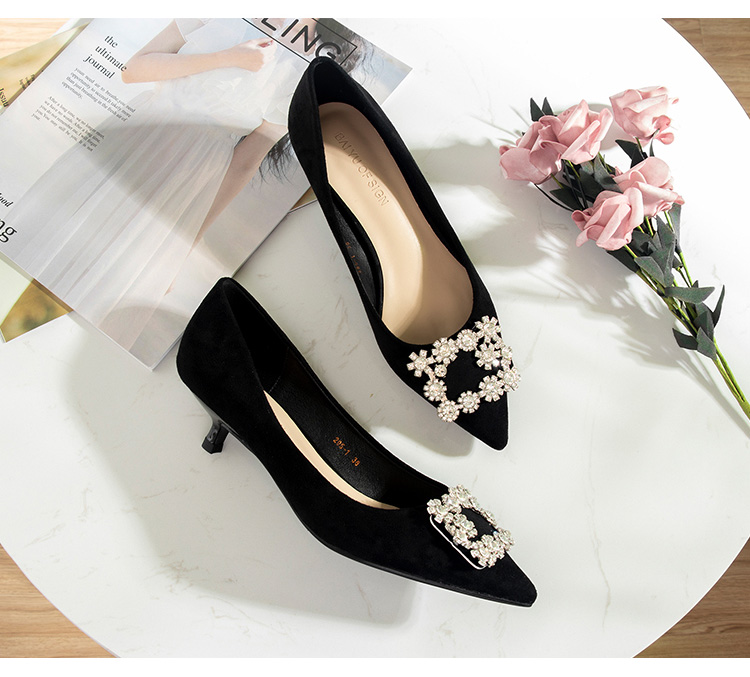 Image 3 - 2020 靴の女性 3.5 センチメートルハイヒールの女性クリスタルバックルラインストーンフロックポイントオープントゥパーティサンダルオフィスの女性のドレスポンププラスサイズレディースパンプス   -