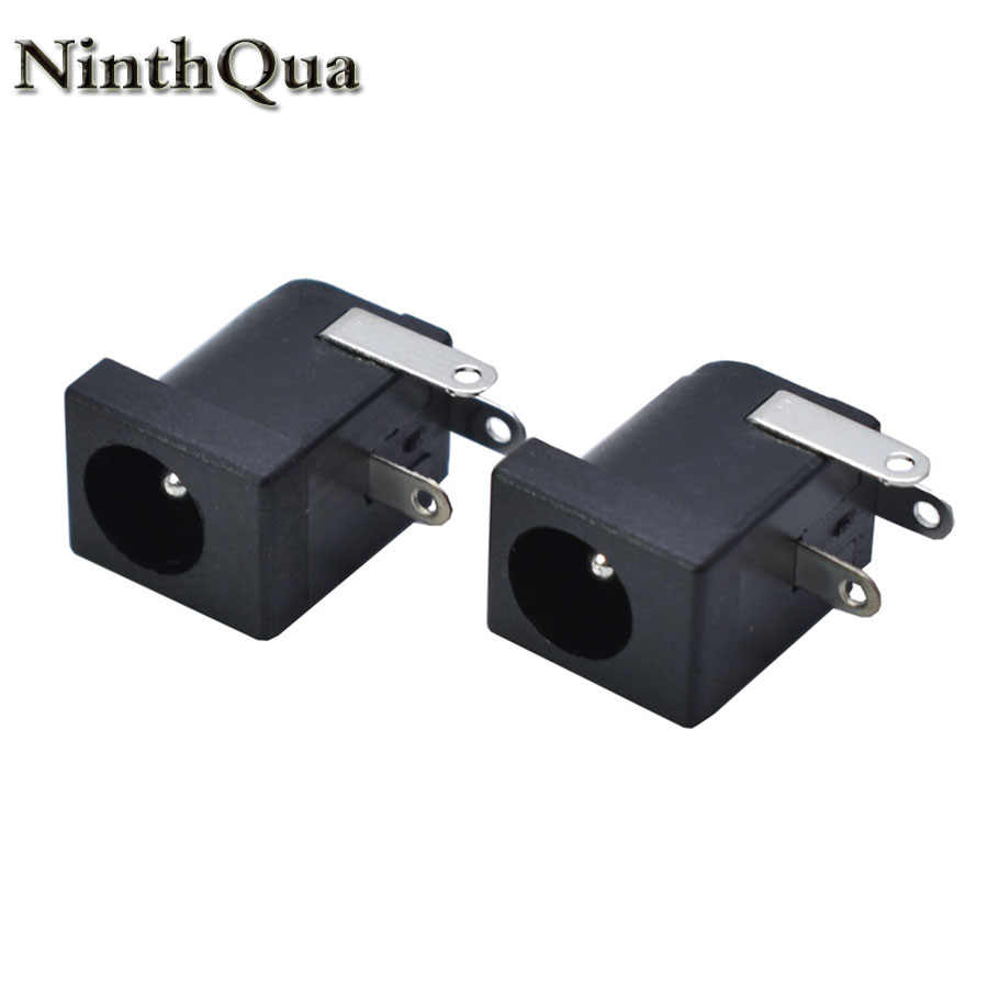5/10pcs 5.5x2.1 5.5x2.5mm DC-005 Zwart DC Power Jack Socket DC Connectors Supply barrel Type Haakse PCB Mount Terminal