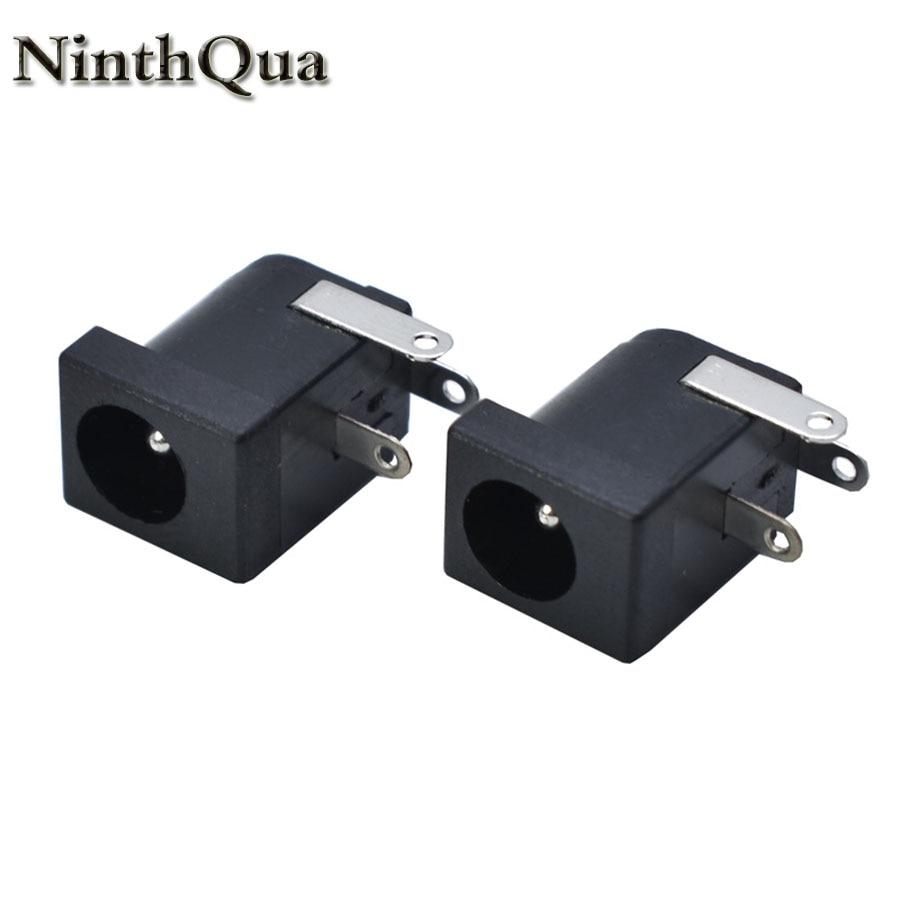 5/10pcs 5.5x2.1 5.5x2.5mm DC-005 Black DC Power Jack Socket DC Connectors Supply Barrel-Type Right Angle PCB Mount Terminal