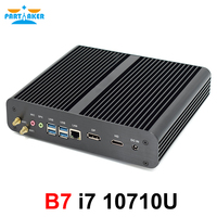 相伴B7 10Th世代ファンレスミニpcインテルコアi7 10710UゲームコンピュータM.2 nvme + msata + 2.5 '