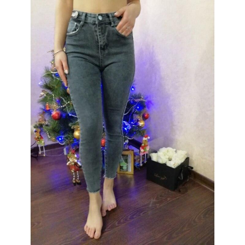 Autumn Vintage Black Elastic Skinny Denim Pants Women High Waist Stretch Slim Leggings jeans Female Casual Gray Pencil Pants 4
