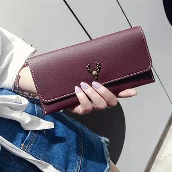 Koreański styl nowy PU skóra jelenia głowy dekoracji portfel prosta moda modna damska torebka tanie i dobre opinie Others One color Baigou