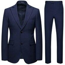 Large Size Suit Set of 2,Grooms Best Man Wedding Two-button Set,Men Leisure Suits,2 Piece Suits Men,Men Slim Fit