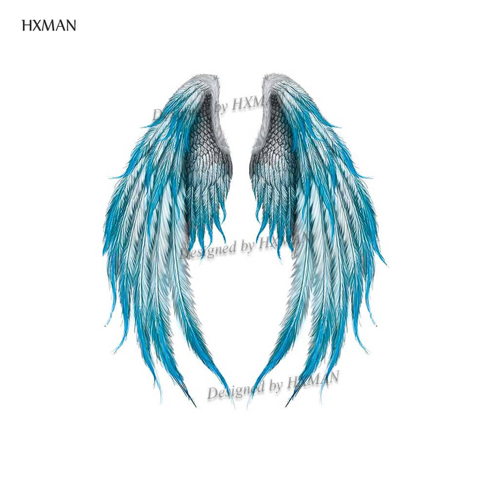 HXMAN Wing Temporary Tattoos Waterproof Women Fashion Fake Body Art Tattoo Sticker Girl Kids Hand Tatoo Paper 9.8X6cm B-077