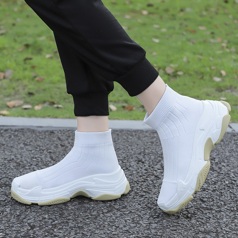 High Top Sneakers Women Knit Upper Breathable Sock Shoes Height Platform Running Shoes Outdoor Sport Shoes Woman Sapato Feminino