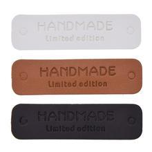 30 unids/lote Edición limitada de cuero hecho a mano para regalos de mano etiquetas de cuero hechas a mano para zapatos de juguete Etiqueta de tres colores