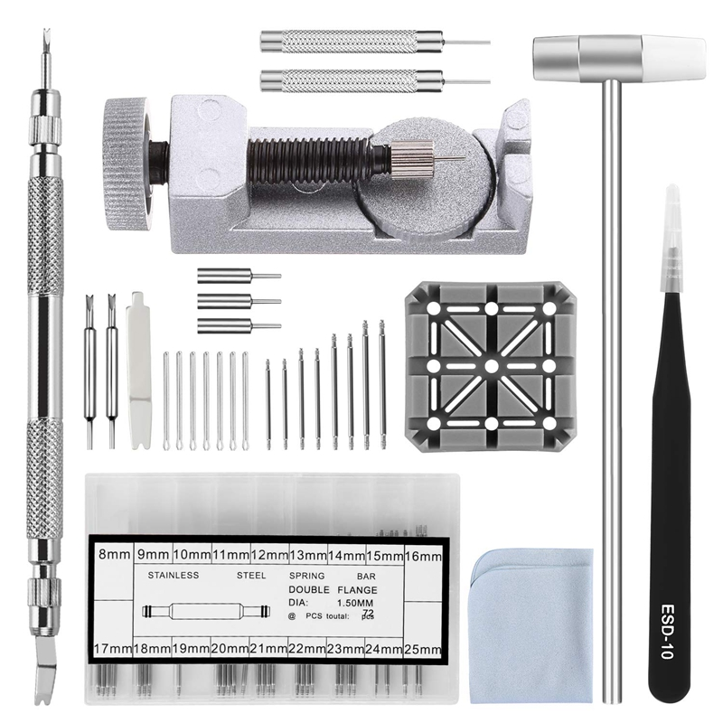 Watch Band Strap Tool Kit,98 In 1 Link Remover,Spring Bar Tool With Extra 72Pcs Pins,15Pcs Cotter Pin,1Pcs Holder,1Pcs Head Hamm