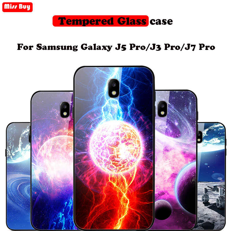サムスンギャラクシー J7 2017 J730 ケース強化ガラス三星銀河 J5 プロ/J3 プロ/J7 プロ星空スタープリントカバー