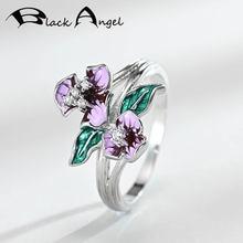 Женское кольцо с фиолетовой эмалью черного ангела модное цветами