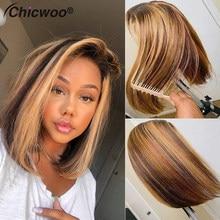 #4/#27 mel loira frente do laço perucas de cabelo humano 13x4 curto bob destaque peruca brasileira remy ombre bob frontal perucas 250% densidade