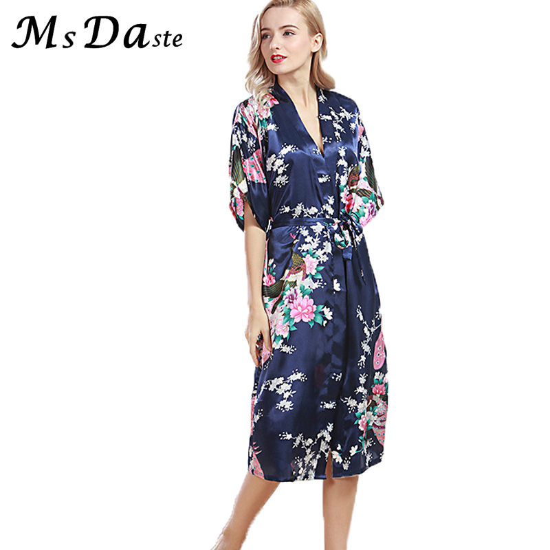 Women Sexy Sleep Robe Femme Kimono Flower Print Sleepwear Lady Nightgown Floral Bathrobe Vestido Longo Pyjamas Plus Size S~3XL