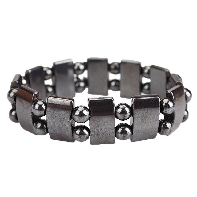 Bracelet Acier Avec Plaquette En Hématite