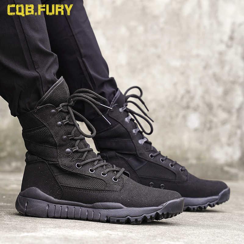 2019 Zomer Mesh Ademend 07 Ultralichte Combat Laarzen Mannen Hoge Hulp Special Forces Tactische Laarzen Legerkistjes