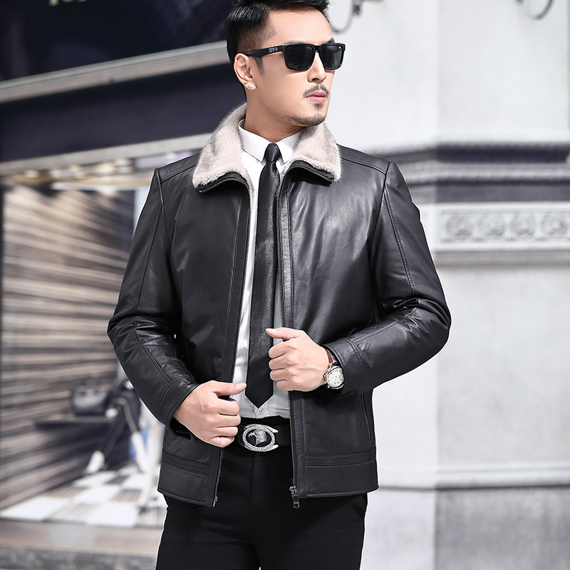 Genuine Leather Jacket Men Winter Cow Leather Jacket Real Mink Fur Liner Warm Down Coats Mink Fur Collar Jaqueta De Couro YY441