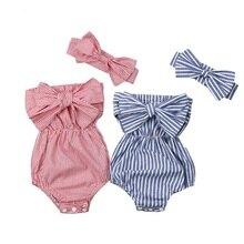 Одежда для новорожденных и маленьких девочек, платье в полоску, с открытыми плечами костюм ползунки комбинезон наряды комбинезон с открытыми плечами Боди с бантом