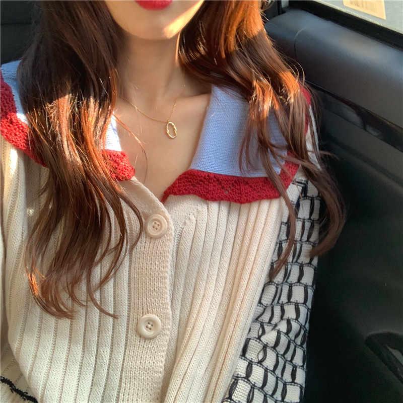 GRUIICEEN חדש אלגנטי ליידי סריגה סוודרים סוודר טלאים קוריאני נשים סתיו סוודרים יחיד חזה מעיל GY2019199